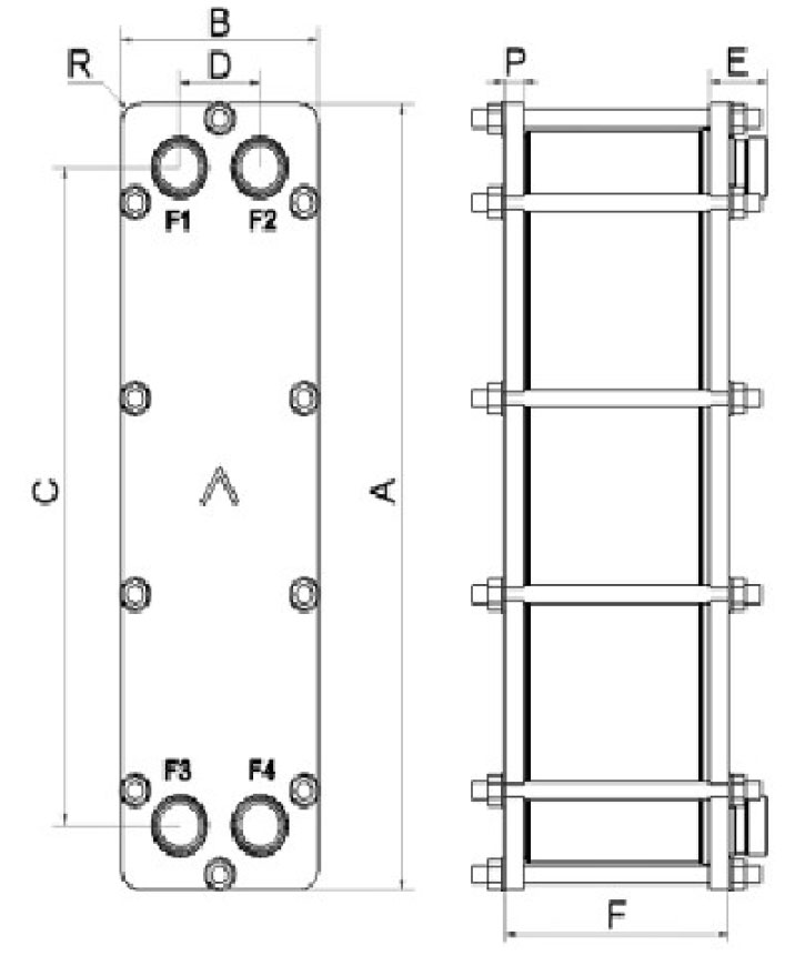 SWEP B16DW-U-PRESSURE wymiary