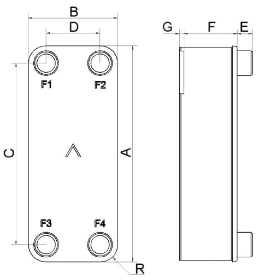 SWEP B25 wymiary