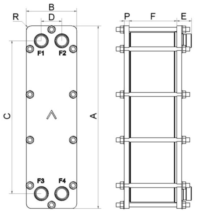 SWEP B28 H-PRESSURE wymiary
